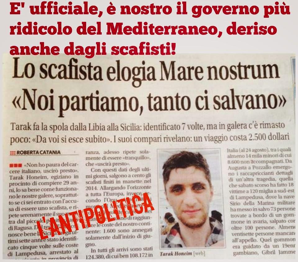 """Immigrazione:Gli scafisti deridono l'Italia""""Da voi si esce subito di galera,e noi guadagnamo."""