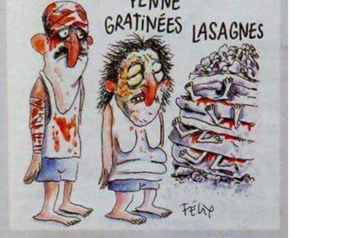 Charlie Hebdo scherza anche sui morti italiani del terremoto. Questa non è satira!La vignetta che indigna