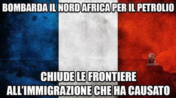 Prima bombardarono per primi la Libia per il petrolio,ora chiudono le frontiere all'immigrazione causata da loro.Questa è la Francia