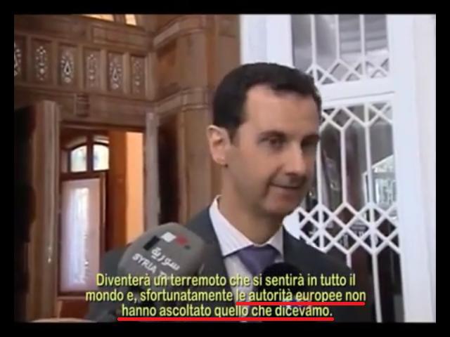 Ecco le dichiarazioni di Assad dopo gli attentati di Parigi che nessuna TV ha voluto trasmettere! IL VIDEO