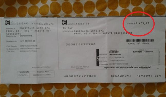 Equitalia gli chiede oltre 63.000 €.La risposta di questo cittadino spopola sul web.Prendiamo esempio