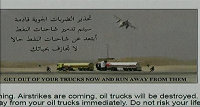 """""""Scendete dai vostri camion e scappate"""".Gli Usa danno un preavviso di 45 minuti all'ISIS prima di bombardare i convogli di petrolio"""