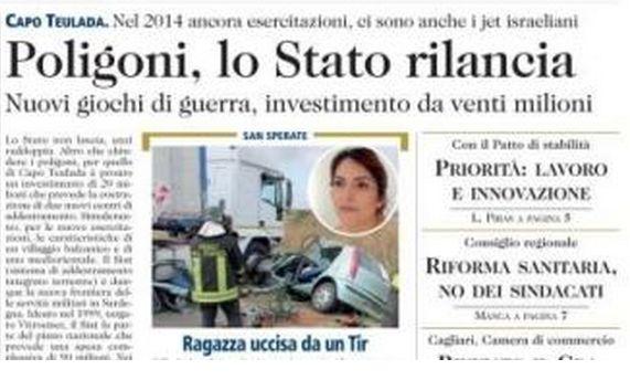 Lo stato investe nella guerra!Prevista pioggia di missili in Sardegna per esercitazioni
