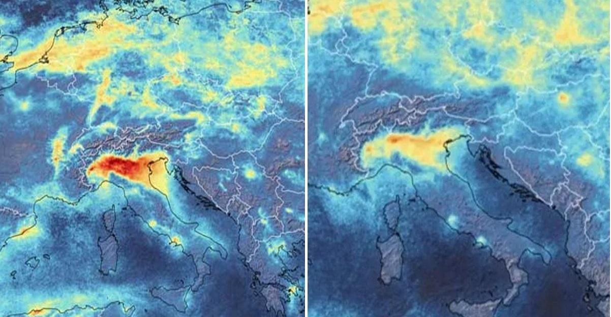 In Italia l'inquinamento è calato drasticamente in pochi giorni. Le immagini ESA