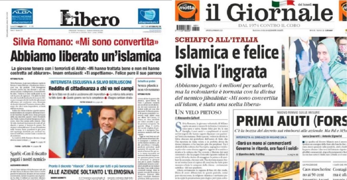 """I beceri titoli di prima pagina di """"Libero"""" e """"Il Giornale"""" sulla liberazione di Silvia Romano"""