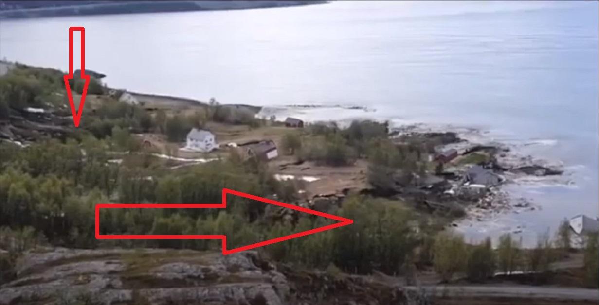 Alta, Norvegia: un pezzo di costa si stacca e trascina 8 case in mare