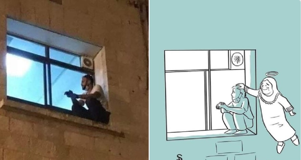 si arrampica finestra ospedale madre malata di covid