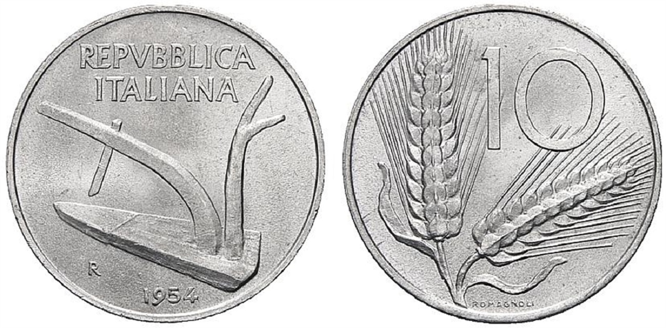 10 lire 1954 spighe