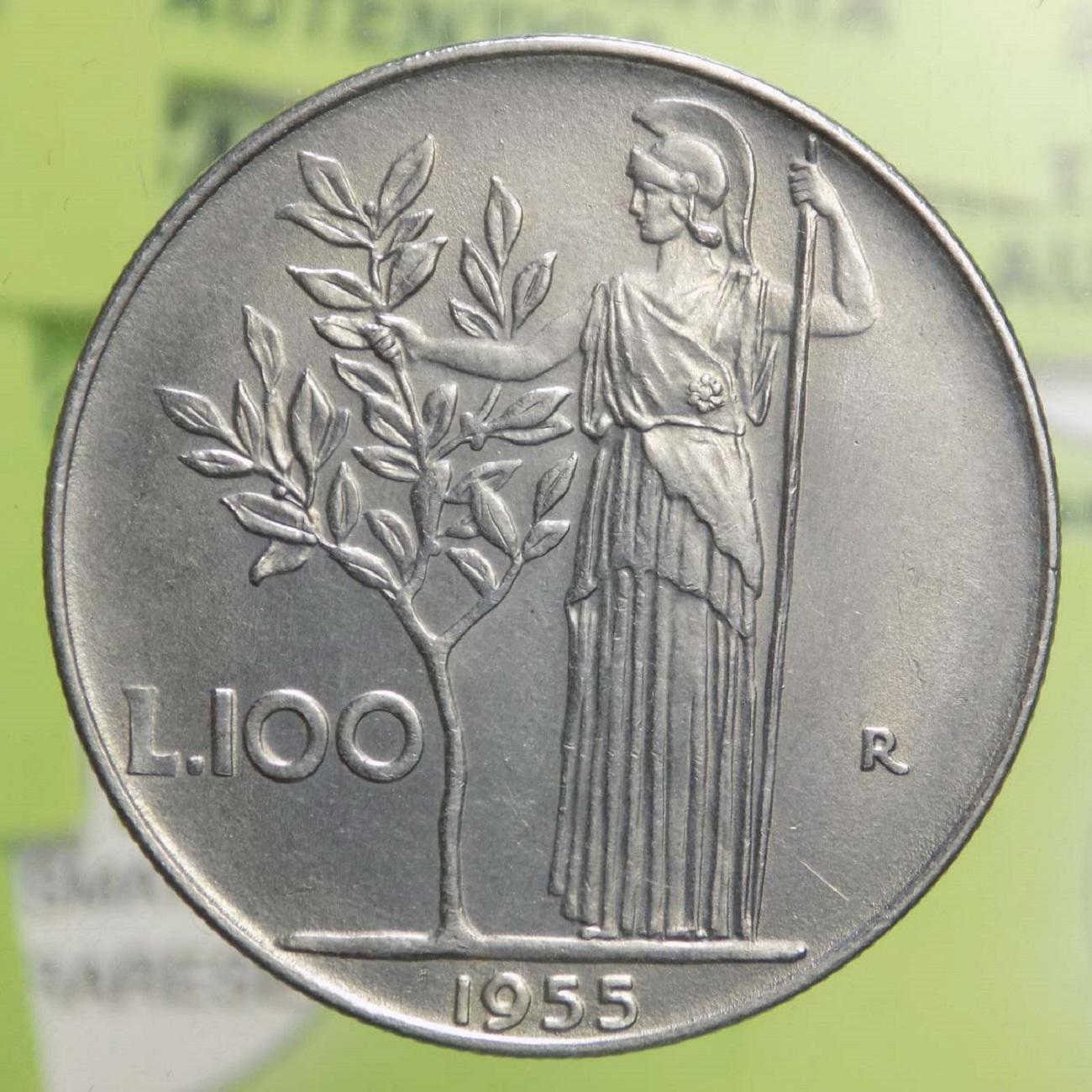 100 lire Minerva del 1955