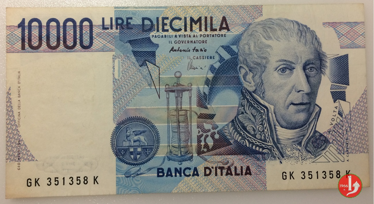 10000 lire Alessandro Volta fronte