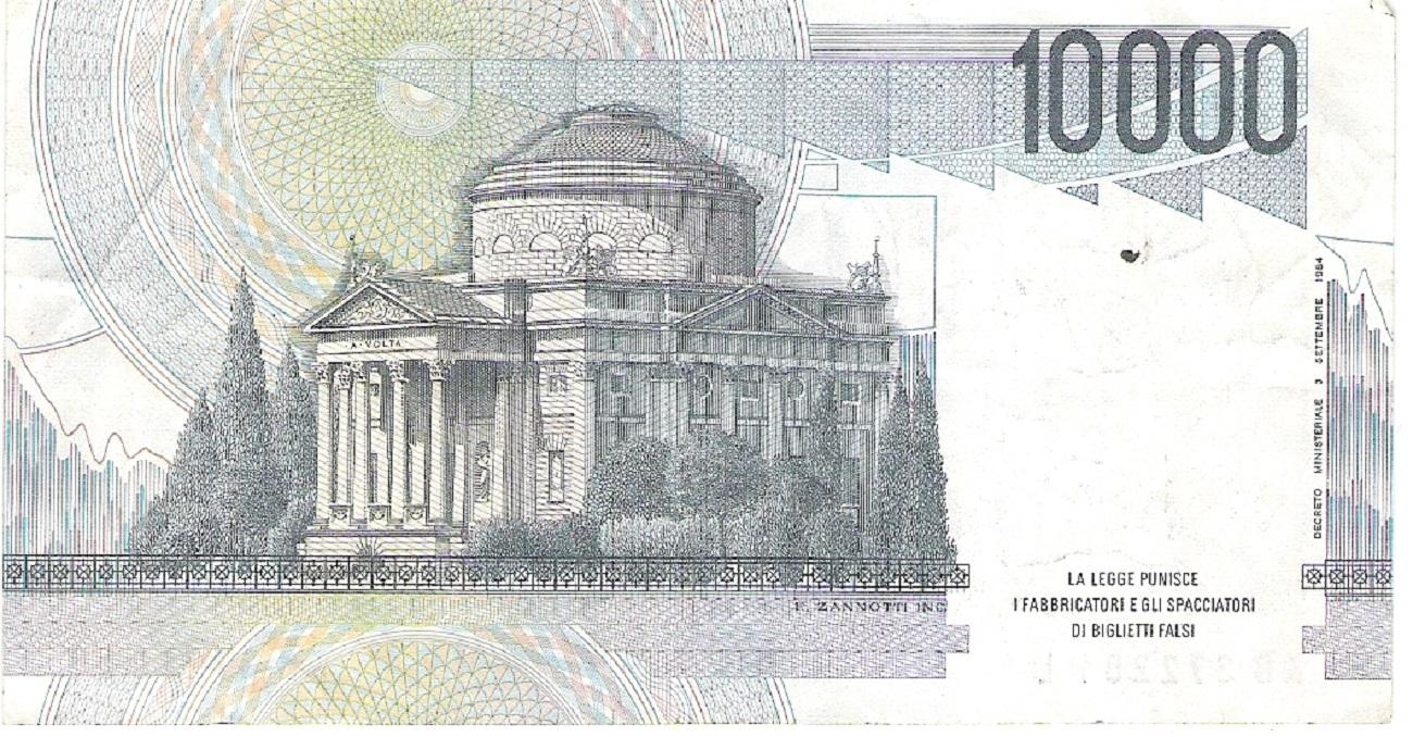 10000 lire Alessandro Volta tempio voltaico di Como