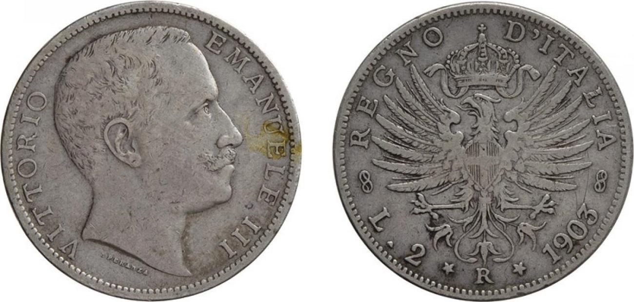 2 lire aquila sabauda Vittorio Emanuele III