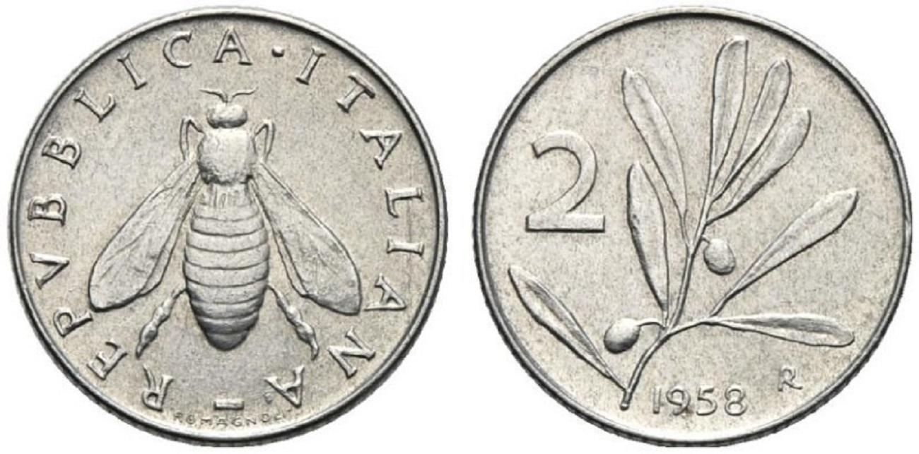 2 lire olivo 1958