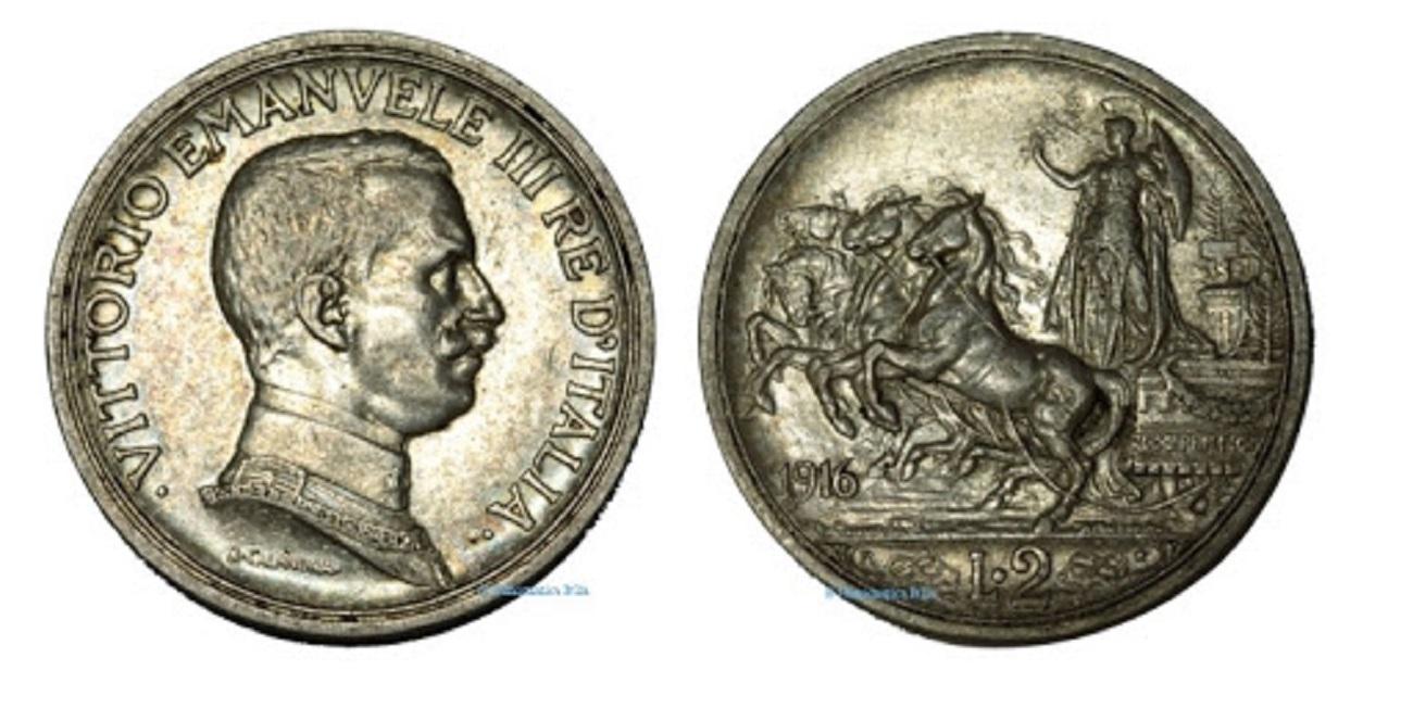 2 lire quadriga briosa Vittorio Emanuele III