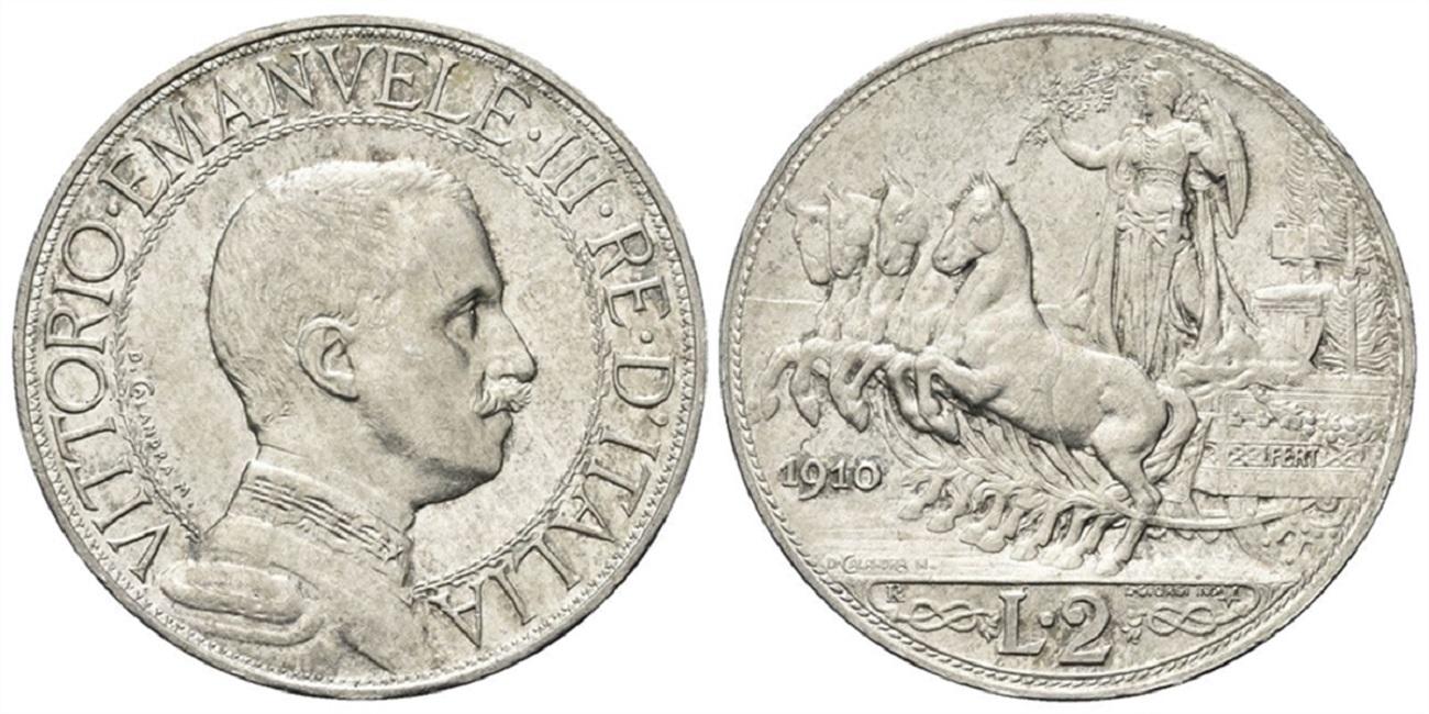 2 lire quadriga veloce vittorio Emanuele III