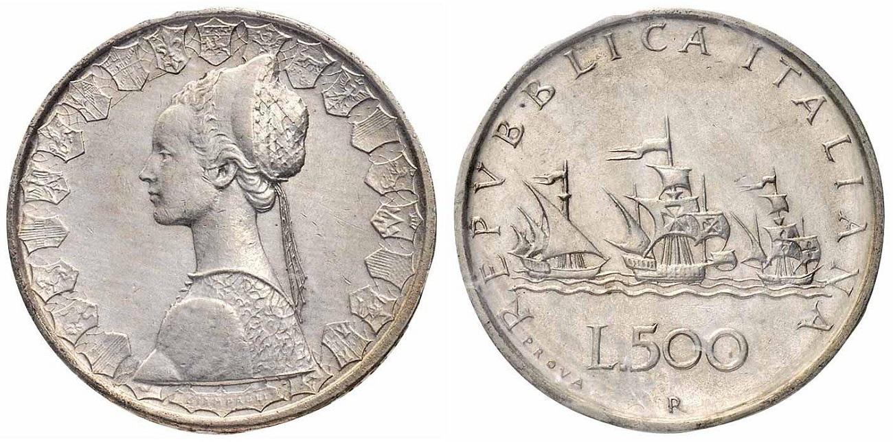 500 Lire d'argento del 1957 di prova