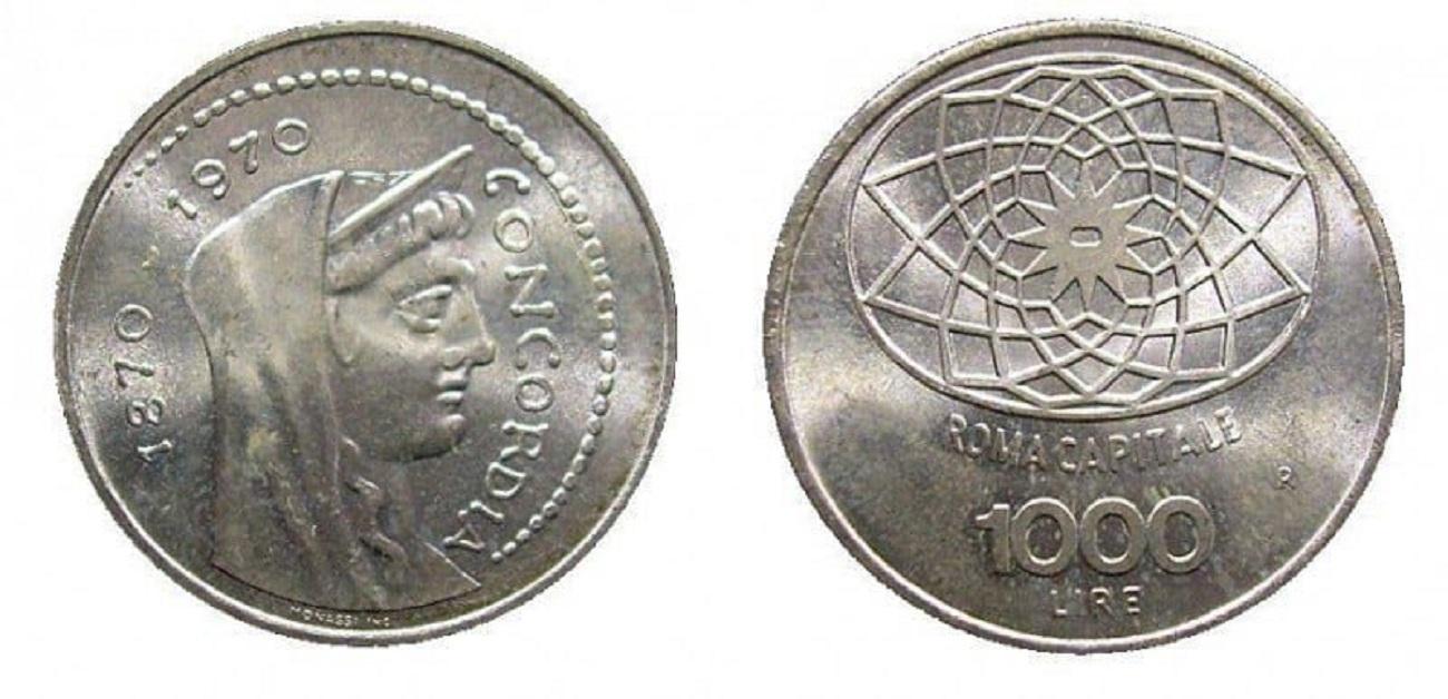 moneta mille lire Roma capitale 1970