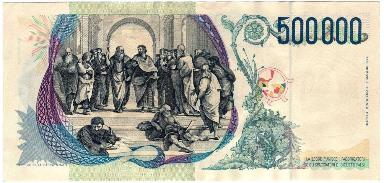 500 mila lire retro la scuola di Atene Raffaello