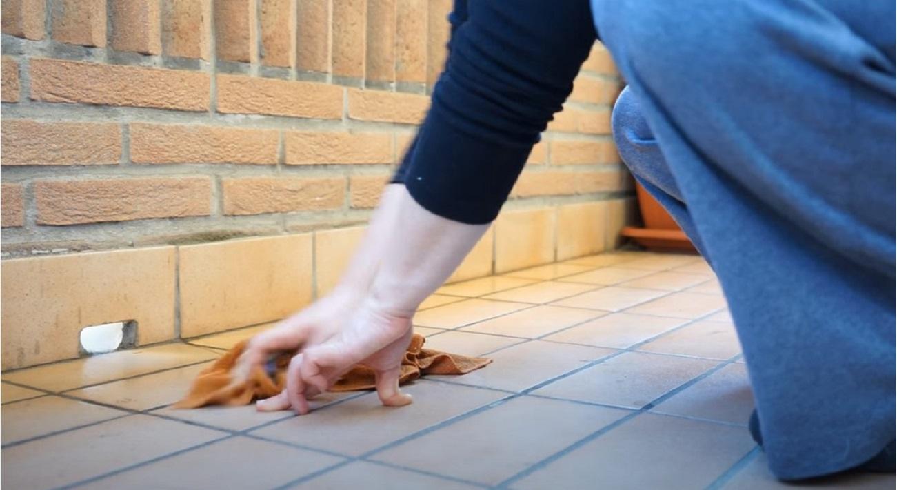 Casalinghe in pensione lavare pavimento
