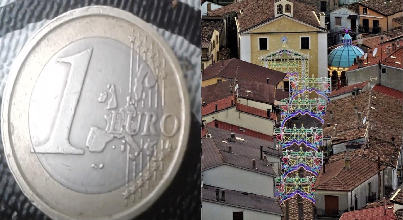 Moneta da 1 euro - case a Laurenzana
