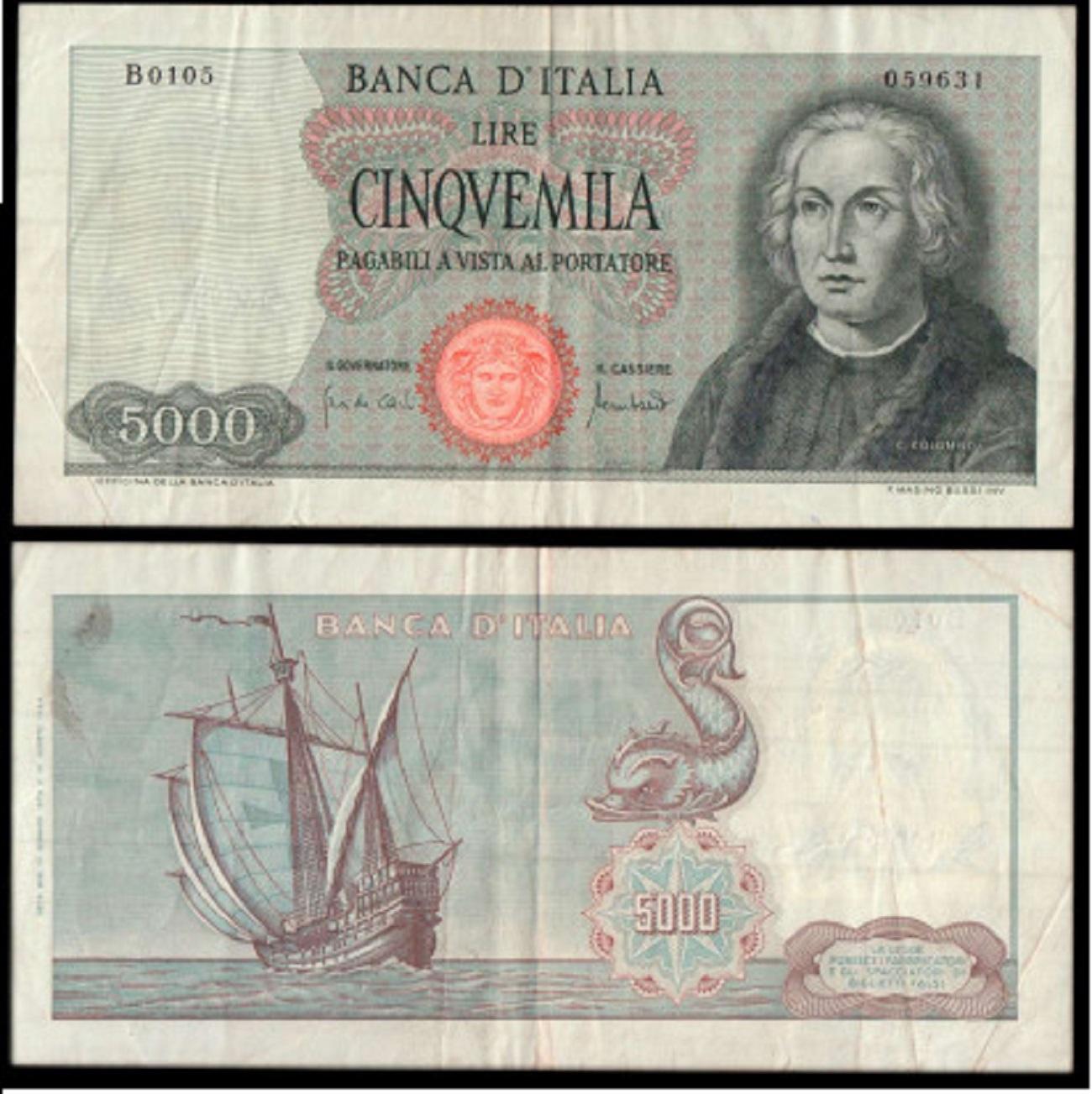 5000 lire 1970 Colombo con una caravella