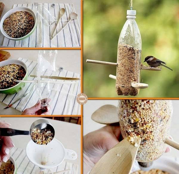 Mangiatoia per uccelli con bottiglia di plastica