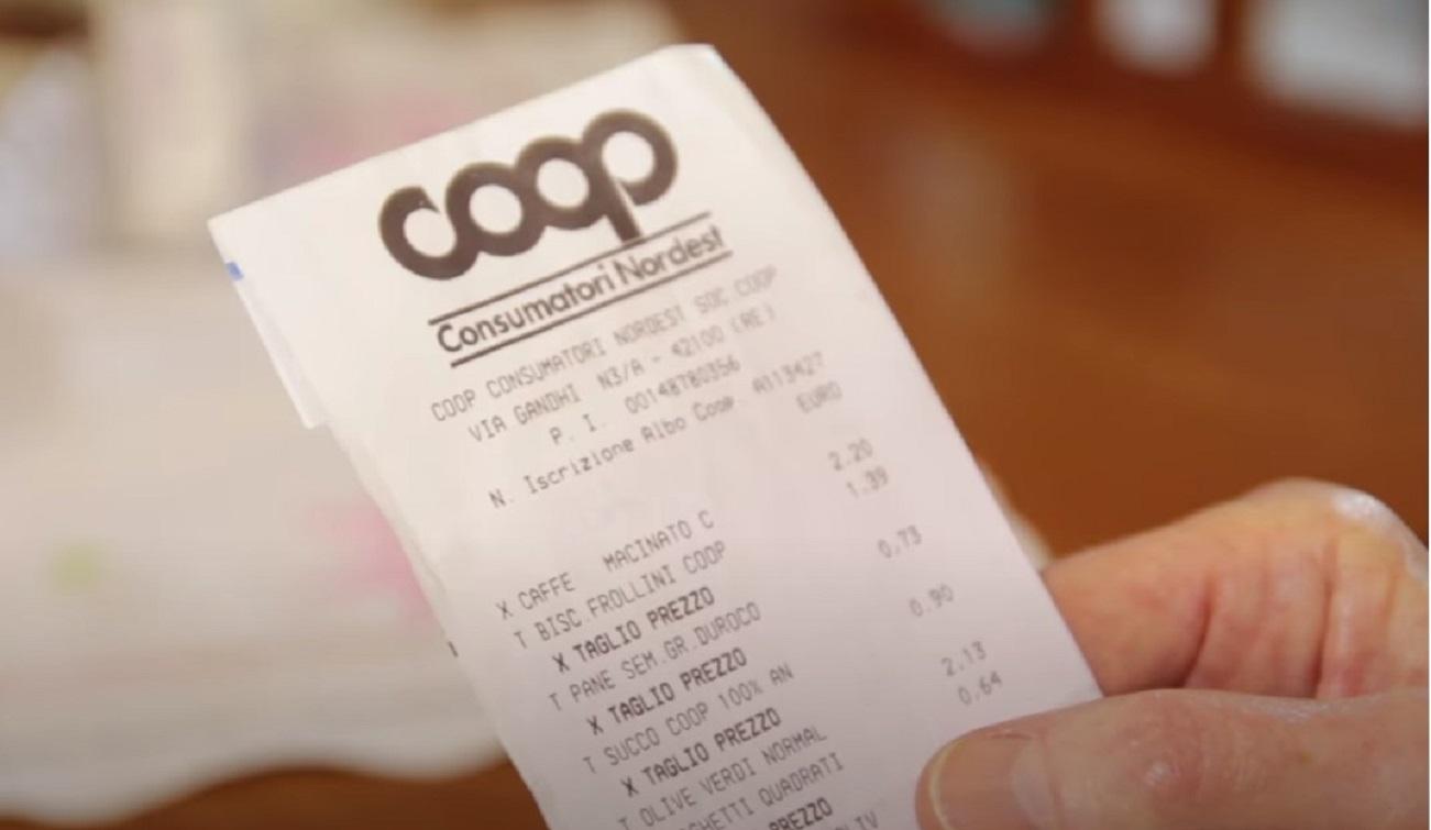 Scontrino Coop Bonus back