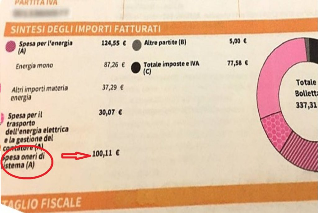 Spesa per gli oneri di sistema in bolletta corrente elettrica